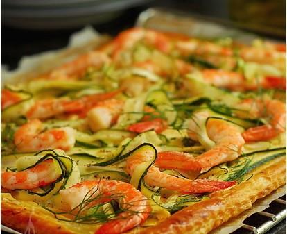 torta salata di gamberi e zucchine